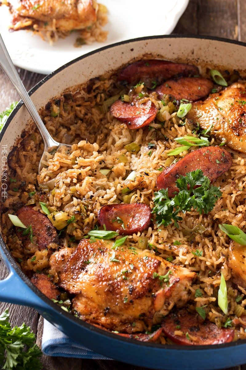 One Pot Chicken And Dirty Rice  Chicken Thighs Are Cooked On Top Of A  Homemade