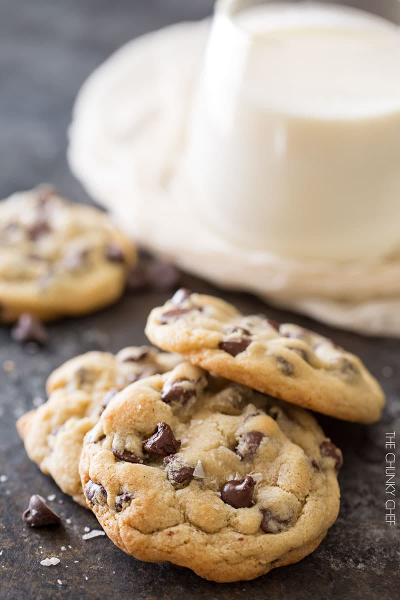 Salted Chocolate Chip Cookies | Thick, chewy chocolate chip cookies that are perfectly crisp on the edges and soft in the middle. The sea salt just accentuates the rich chocolate flavor! | http://thechunkychef.com