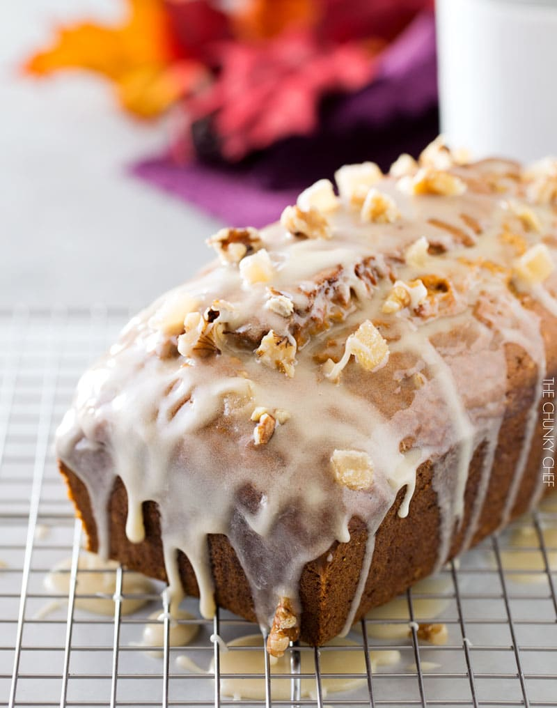 Honey Glazed Pumpkin Banana Bread | Soft and light, this bread is the perfect Fall treat! The honey glaze on top is to die for! | http://thechunkychef.com