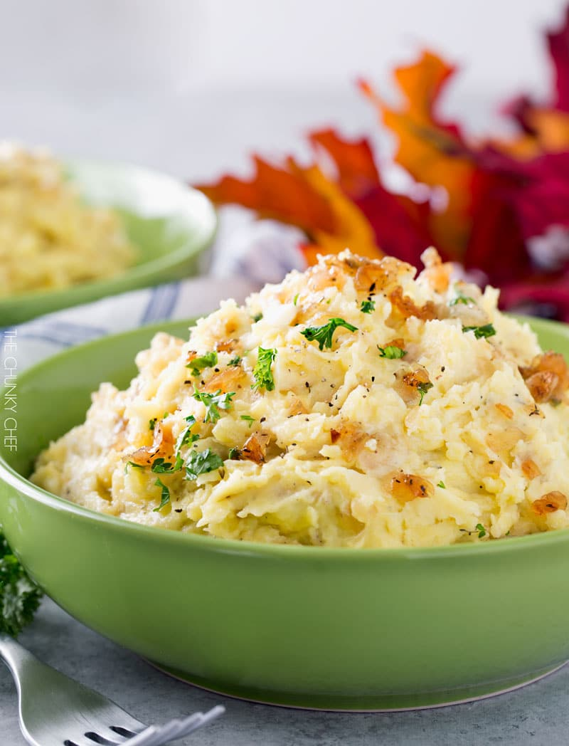 Horseradish Mashed Potatoes with Caramelized Onions | Not your average ...