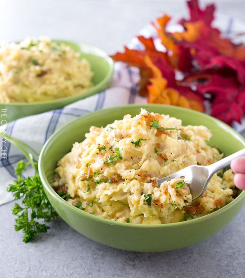 Horseradish Mashed Potatoes with Caramelized Onions   Not your average side dish, these mashed potatoes are full of amazing flavor combinations. Perfect for your holiday table!   http://thechunkychef.com
