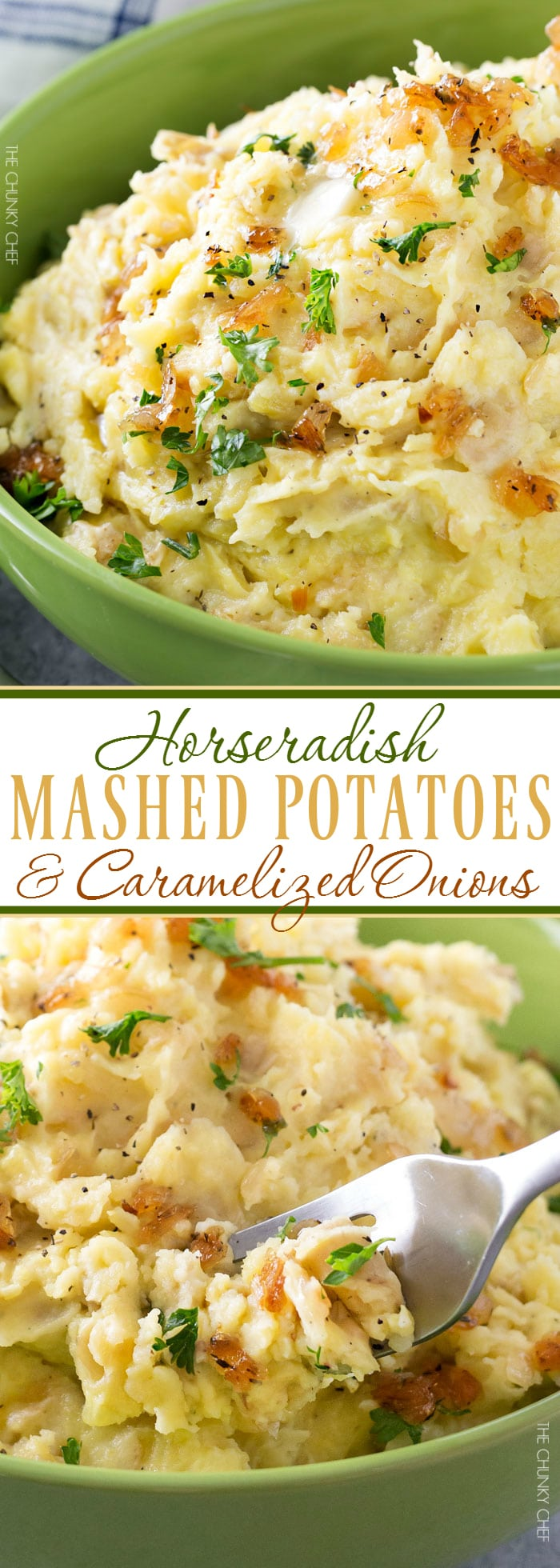 Horseradish Mashed Potatoes with Caramelized Onions | Not your average side dish, these mashed potatoes are full of amazing flavor combinations. Perfect for your holiday table! | http://thechunkychef.com
