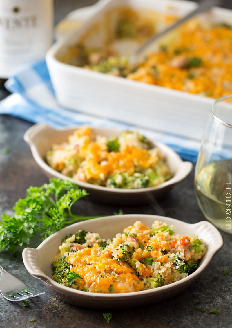 Cheesy Quinoa and Sausage Broccoli Casserole   A healthier version of the classic broccoli casserole, made with protein packed quinoa, chicken sausage, and a homemade (no condensed soups) creamy cheddar sauce!   http://thechunkychef.com