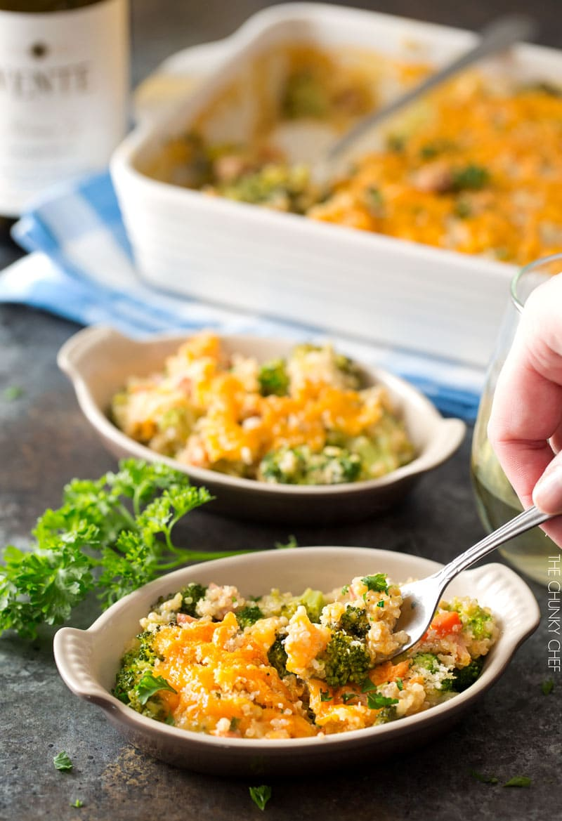 Cheesy Quinoa and Sausage Broccoli Casserole | A healthier version of the classic broccoli casserole, made with protein packed quinoa, chicken sausage, and a homemade (no condensed soups) creamy cheddar sauce! | http://thechunkychef.com