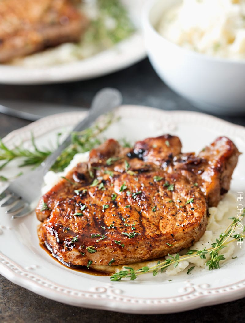 Maple Balsamic Glazed Pork Chops  Tender, Juicy, Bonein Glazed Pork Chops