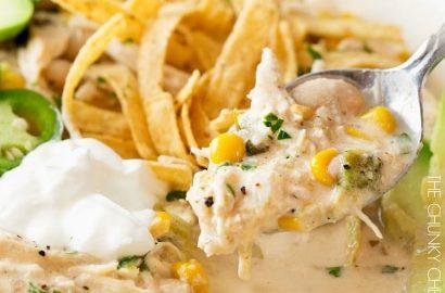Creamy Crockpot White Chicken Chili - The Chunky Chef