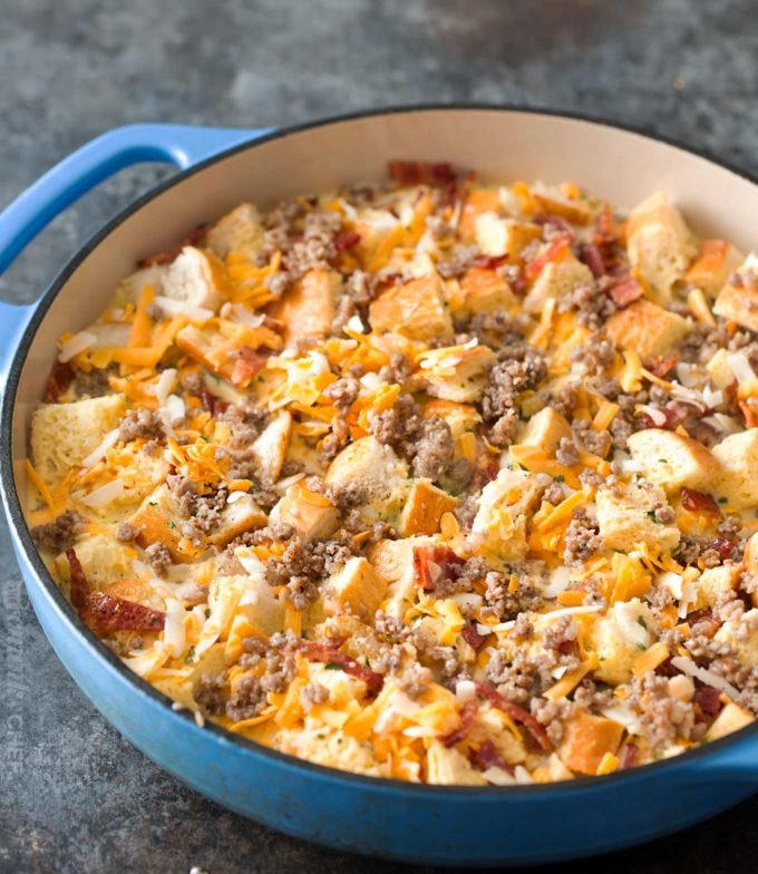 Unbaked breakfast casserole in dish