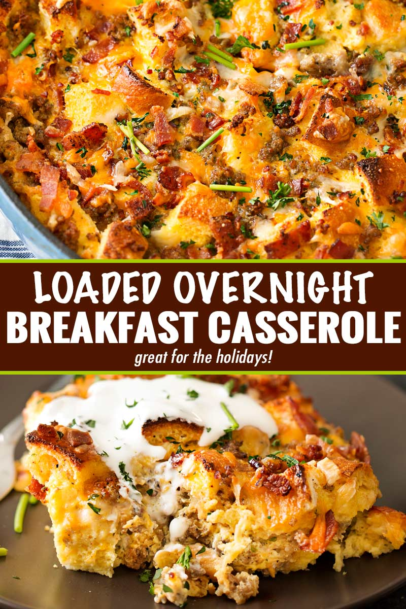 This make ahead breakfast casserole is a true family favorite!  Perfect for a holiday breakfast, or anytime, it's loaded with bold flavors and is a cinch to make! #breakfastcasserole #breakfastrecipe #holiday #christmas #easter #mothersday #fathersday #breakfastbake