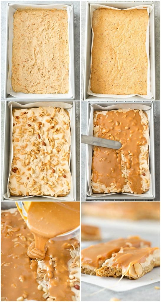 Salted Caramel Peanut Bars | These easy to make bars taste like a great candy bar! A soft pretzel flavored base is covered with a creamy nougat layer, sprinkled with peanuts, and coated in dreamy salted caramel! | http://thechunkychef.com
