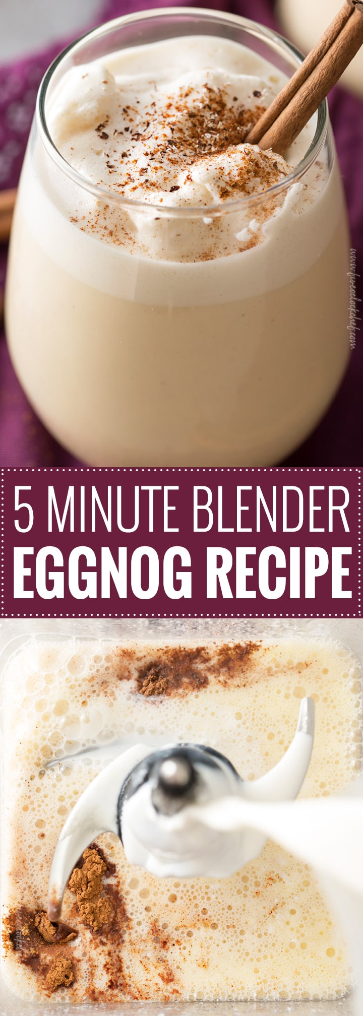 5 Minute Blender Eggnog | Homemade eggnog, made in your blender in just 5 minutes! Rich and creamy, yet surprisingly light, this holiday drink packs a big punch of flavor! | http://thechunkychef.com
