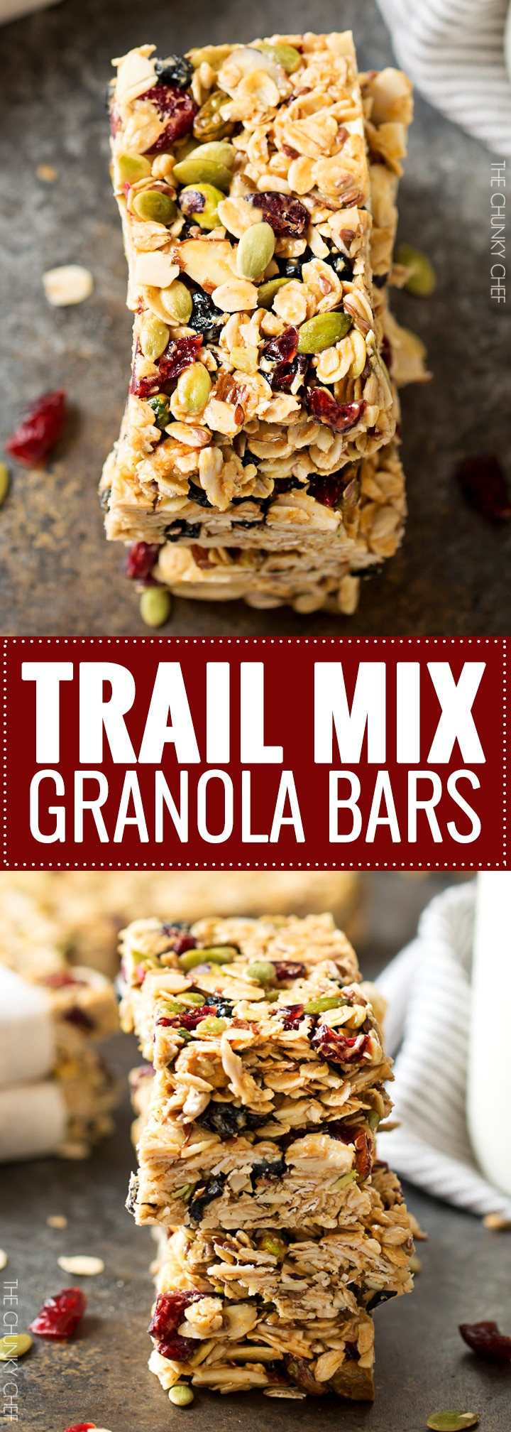 No Bake Chewy Trail Mix Granola Bars The Chunky Chef