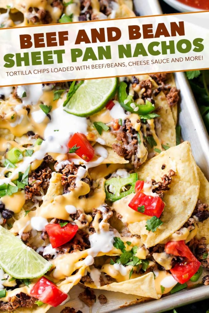 These sheet pan nachos are perfect for any party! Layer after layer of mouthwatering flavor, smothered with a jalapeño cheese sauce and loaded with classic nacho toppings! #nachos #beef #bean #mexican #party #appetizer #sheetpan #easyrecipe #cheesy