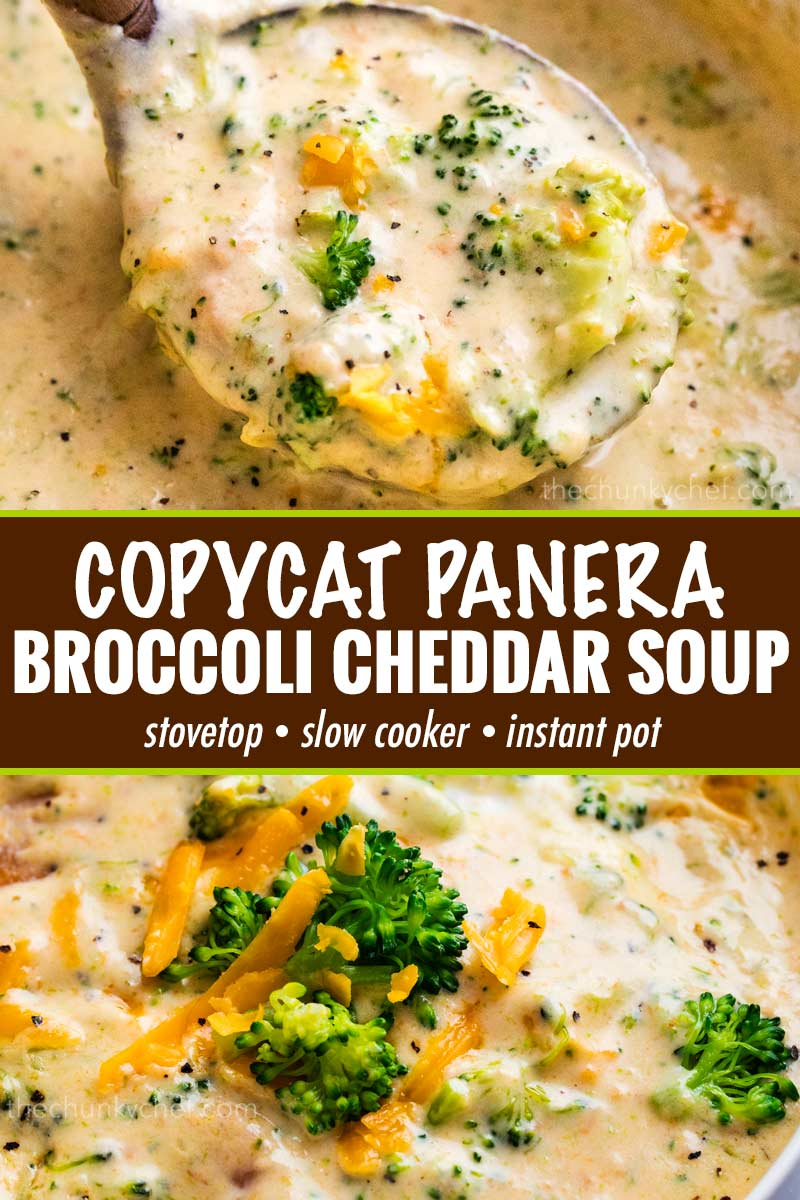 This copycat Broccoli Cheddar Soup is SO hearty and rich, and made in just one pot on your stovetop! Crockpot and Instant Pot directions too! #soup #copycatrecipe #broccolicheddar #broccolicheese #creamy #panera #souprecipe #comfortfood