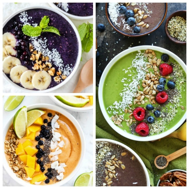 25 Smoothie Bowls to Eat Instead of Cereal | Instead of having a boring bowl of cereal or traditional smoothie in a cup, try one of these colorful, fun, and delicious smoothie bowls! | http://thechunkychef.com