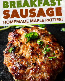 These Maple Breakfast Sausage patties are made with a combo of ground turkey and pork, savory herbs, and sweet maple syrup. Your favorite breakfast meat - perfect to make ahead and freeze! #breakfast #sausage #maple #turkey #pork #patties #makeahead #freeze