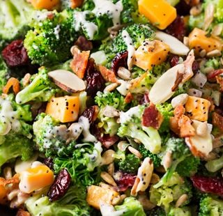 Cranberry Almond Broccoli Salad with Citrus Poppyseed Dressing| Classic broccoli salad is lightened up a bit, yet even bolder in flavor! It's the side dish everyone needs at their party! | http://thechunkychef.com