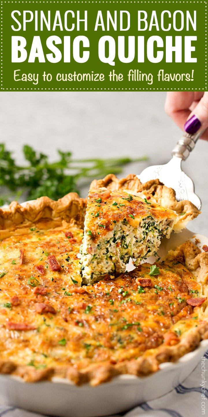 Basic Cheesy Spinach Quiche With Bacon The Chunky Chef