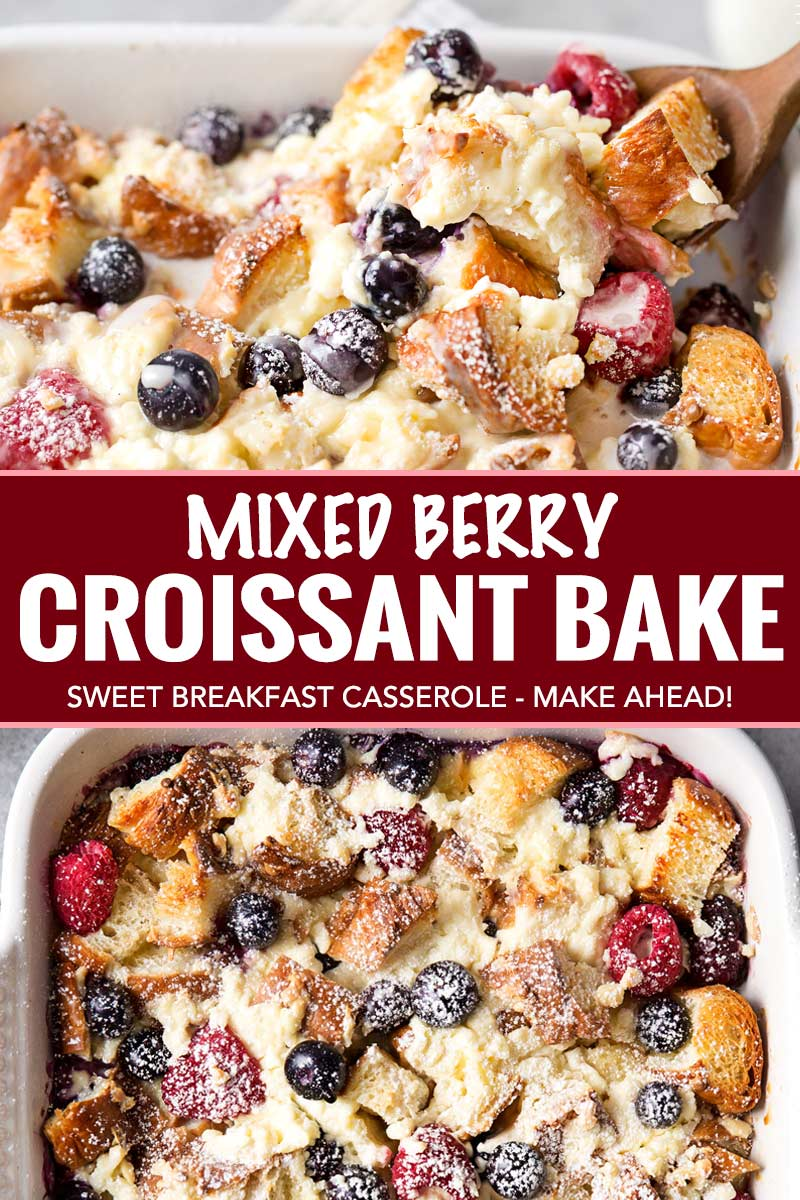 Whip up this sweet croissant breakfast bake the night before, let it sit overnight, then bake it to crispy yet creamy perfection. Drizzle it with vanilla bean glaze and prepare to fall in love! #holiday #breakfast #easter #mothersday #overnight #breakfastbake #croissant #breakfastrecipe #easyrecipe #makeahead