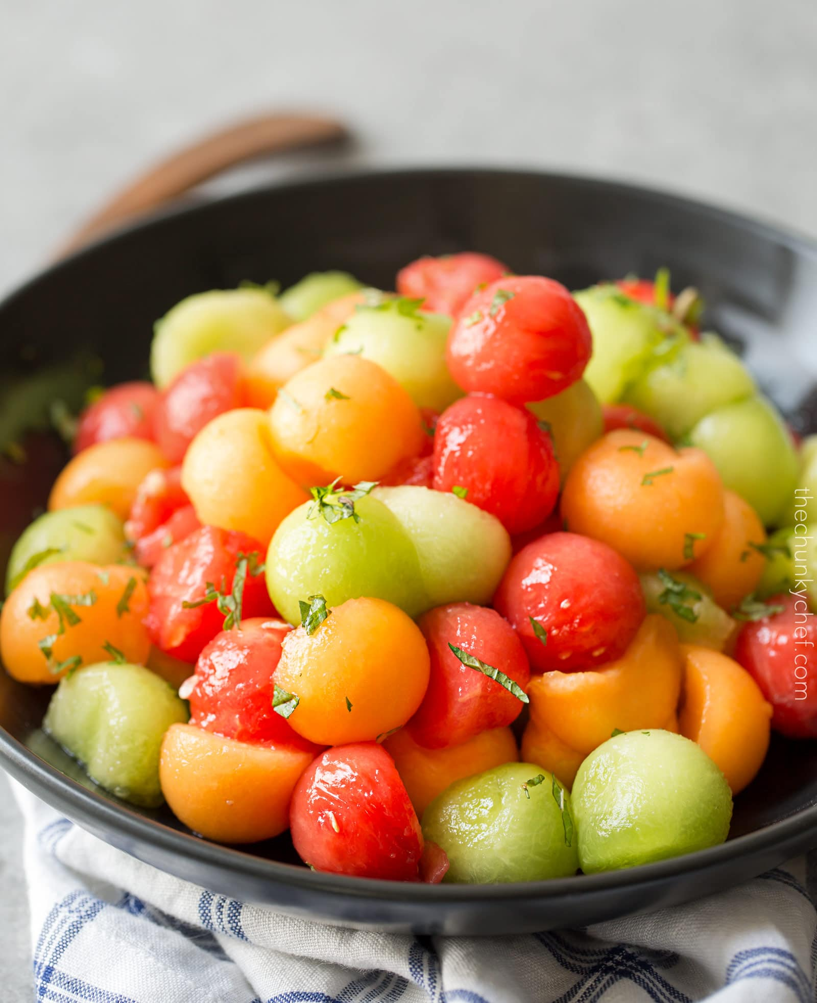 Summer Fruit Salad with Serrano Mint Syrup   A refreshing fruit salad made with a variety of summer fruits, tossed in an easy simple syrup made with mint and serrano pepper!   http://thechunkychef.com