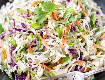 5 Minute Tequila Lime Coleslaw with Cilantro