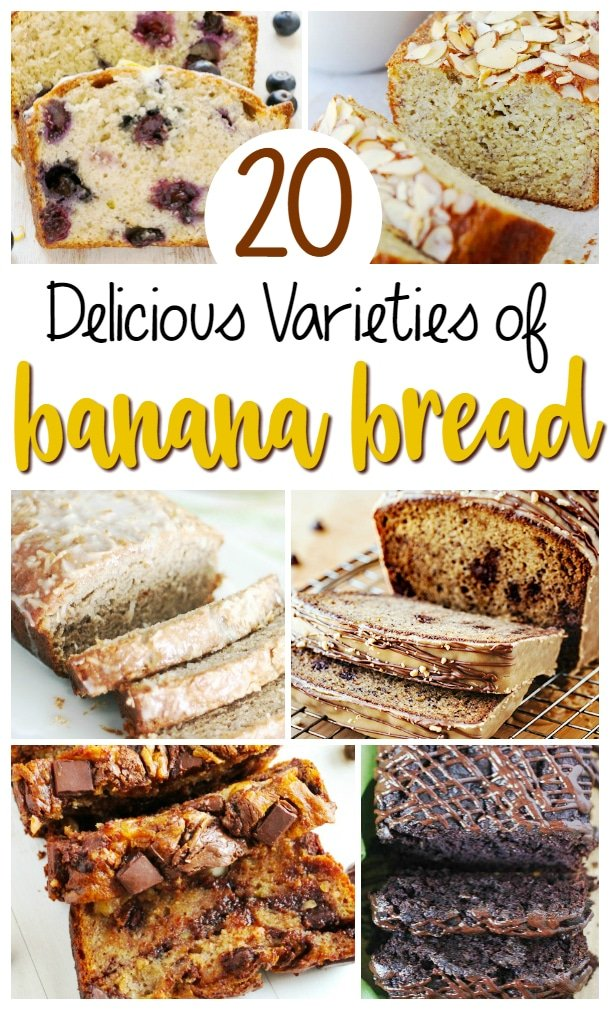 20 Varieties of Banana Bread   This collection of 20 different varieties of banana bread will leave your mouth watering as you head to the kitchen to whip up one of these loaves!   http://thechunkychef.com