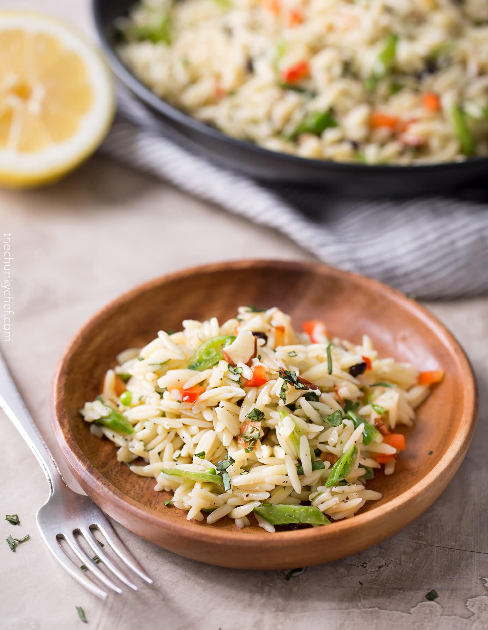 Copycat Piada Orzo Salad   This orzo salad is a copycat of the one sold at Piada Italian Street Food... it's crunchy, a little sweet, a little savory, and always a hit at parties!   http://thechunkychef.com