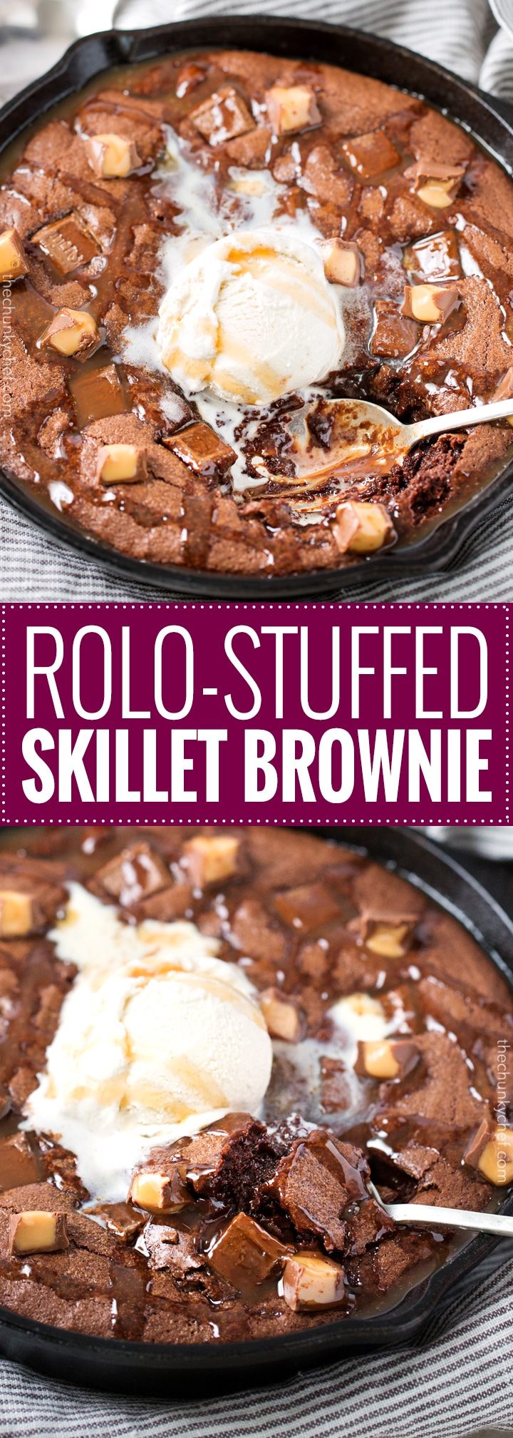 Rolo-Stuffed Skillet Brownie | This one bowl brownie recipe is made in a skillet, stuffed with rolo candies and Hershey bar pieces, and baked until warm and fudgy! | http://thechunkychef.com