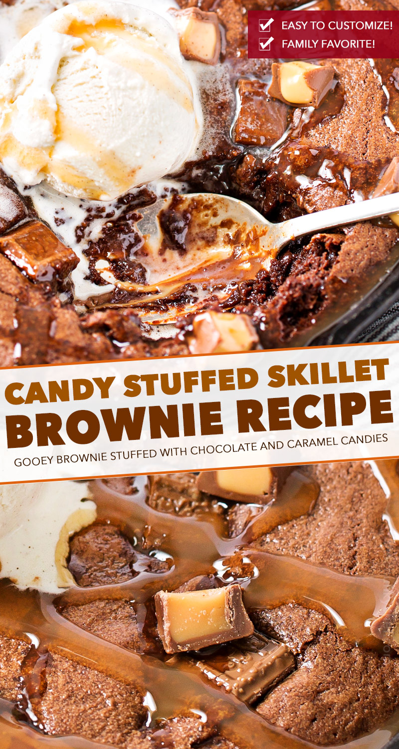 This one bowl brownie recipe is baked in a skillet, which means you can dig right into the gooey, warm brownie right away!  Stuffed with caramel and chocolate, this is one loaded brownie! #brownie #brownies #brownierecipe #dessert #dessertrecipe #skillet #easyrecipe #caramel #chocolate