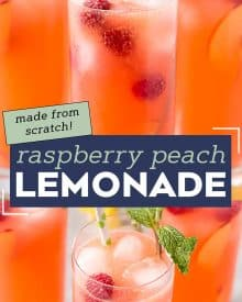 This Raspberry Peach Lemonade is the perfect refreshing summer drink! Full of summery raspberry and peach flavors, this homemade lemonade is like drinking sunshine, and uses just 5 ingredients! #lemonade #peach #raspberry #summerdrink