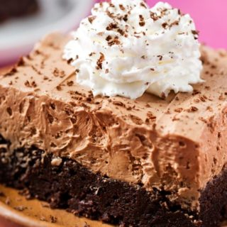 French Silk Pie Brownies | Fudgy brownies topped with a rich French silk pie filling, whipped cream and shaved chocolate... chocolate lovers, this dessert is for you! | http://thechunkychef.com
