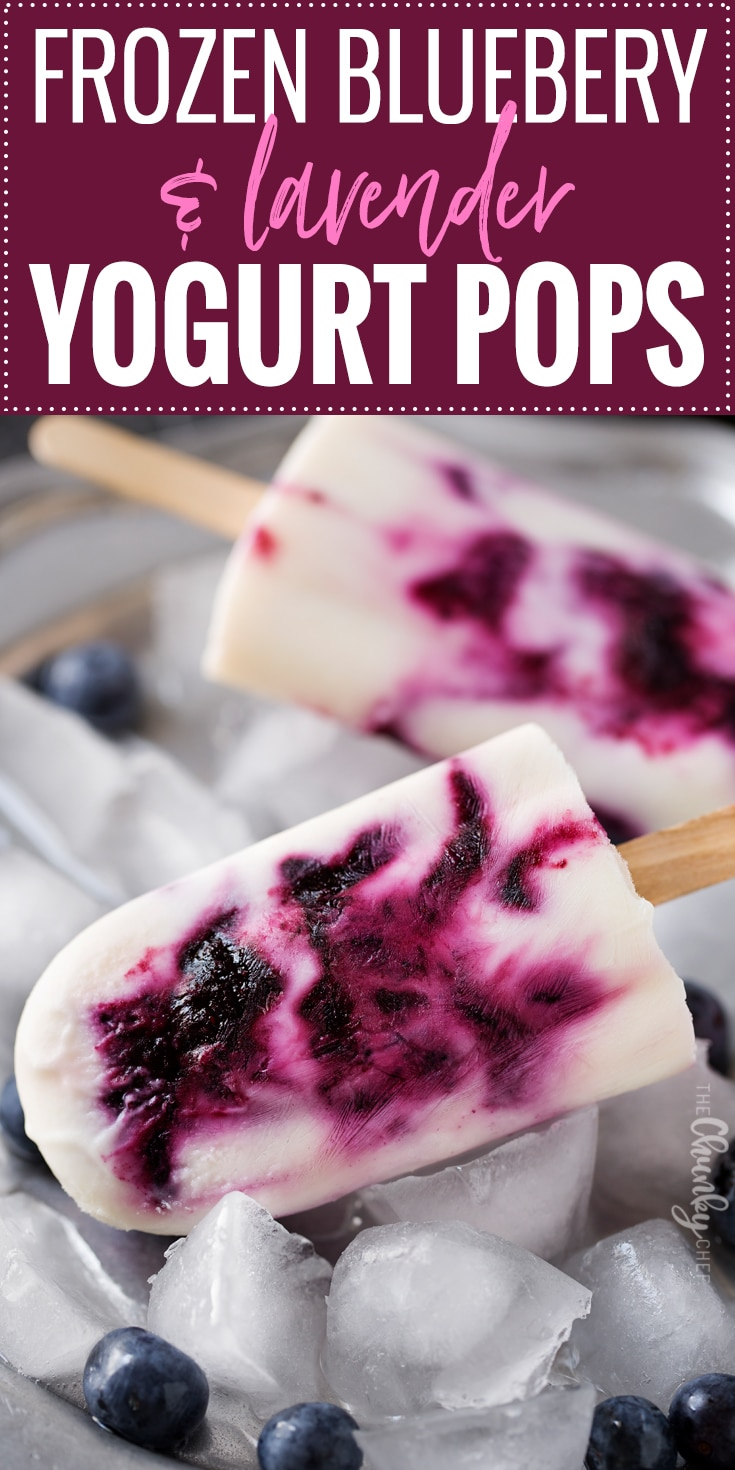 Frozen Blueberry and Lavender Yogurt Pops | An easy homemade yogurt pop made with lavender infused honey, fresh blueberries and creamy yogurt... you'll love this easy frozen dessert! | http://thechunkychef.com