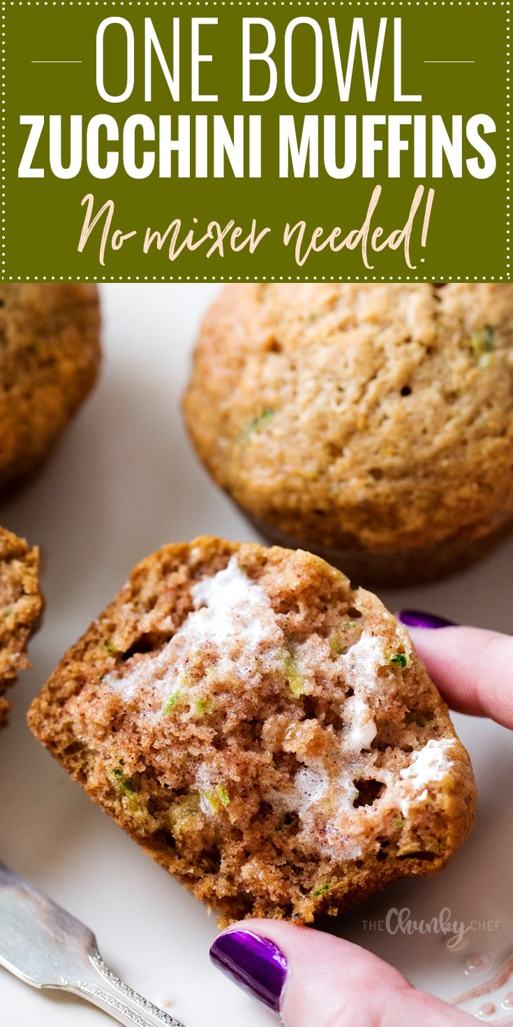 One Bowl Zucchini Muffins   One bowl, no mixer needed, and everyday ingredients... the perfect zucchini muffins! These muffins are perfect for breakfast, a snack, or getting kids to eat extra veggies!   http://thechunkychef.com
