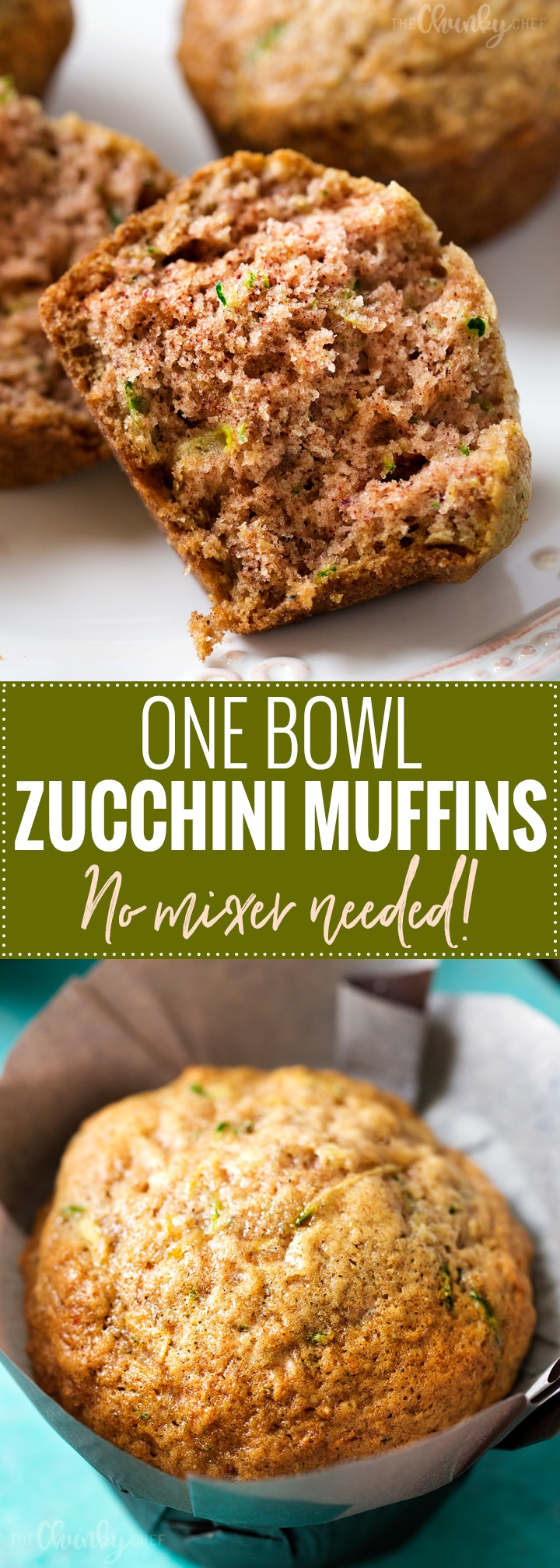 One Bowl Zucchini Muffins | One bowl, no mixer needed, and everyday ingredients... the perfect zucchini muffins! These muffins are perfect for breakfast, a snack, or getting kids to eat extra veggies! | http://thechunkychef.com
