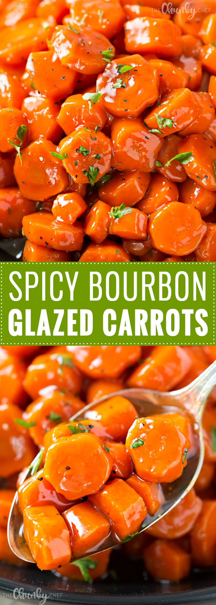 Spicy Bourbon Glazed Carrots | You'll love these easy glazed carrots made with bourbon, brown sugar and cayenne! They're perfect for a weeknight dinner or holiday feast! | http://thechunkychef.com