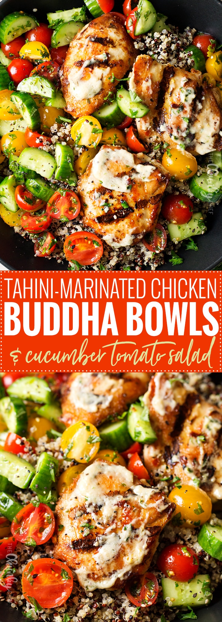 Tahini Marinated Chicken Buddha Bowl | Healthy, delicious, and easy to make... these buddha bowls are the perfect dinner or lunch! You'll love the tahini marinade that doubles as a sauce! | http://thechunkychef.com