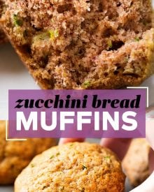 These zucchini bread muffins have all the flavor of sweet zucchini bread, in a snack-sized muffin! One bowl, no mixer, and everyday ingredients... these muffins are perfect for breakfast, a snack, or getting kids to eat extra veggies!