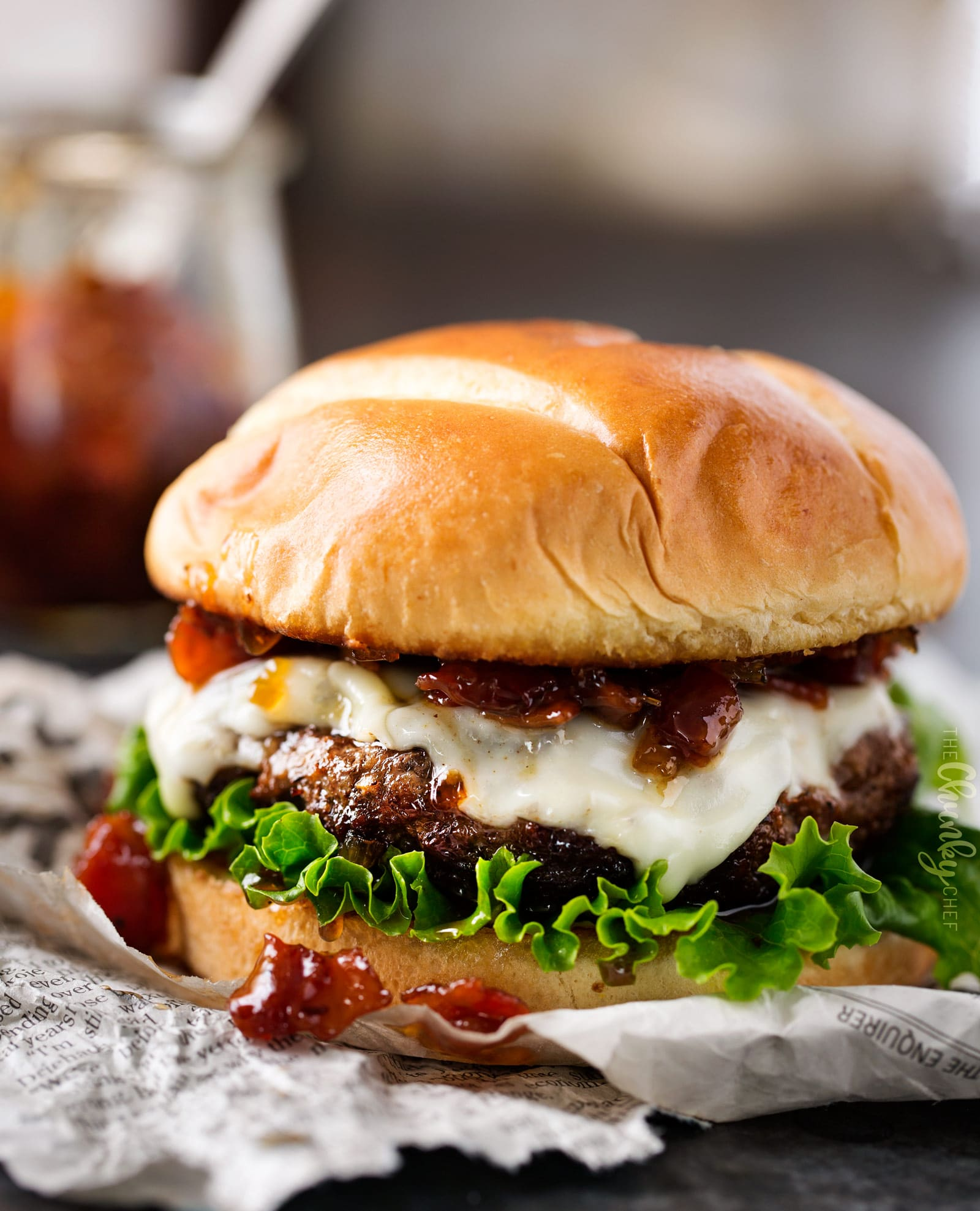 Cheeseburgers with Bourbon Bacon Jam - The Chunky Chef