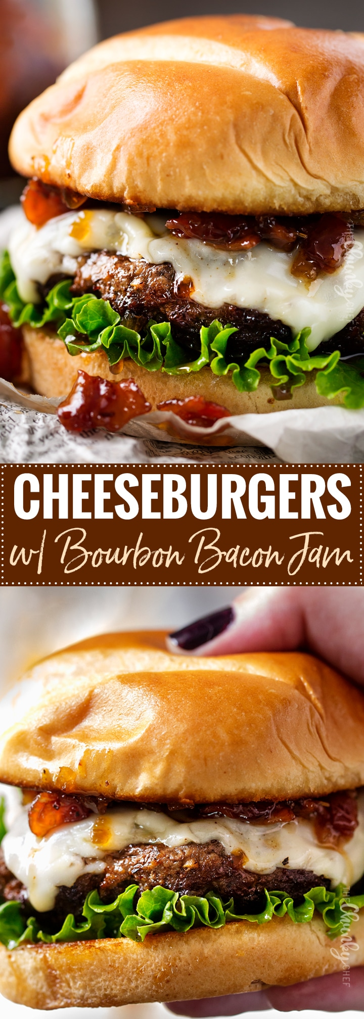 Cheeseburgers with Bourbon Bacon Jam   The only thing better than a juicy cheeseburger on a toasted bun, is a juicy cheeseburger topped with homemade bourbon bacon jam! Regular condiments are a thing of the past!   http://thechunkychef.com