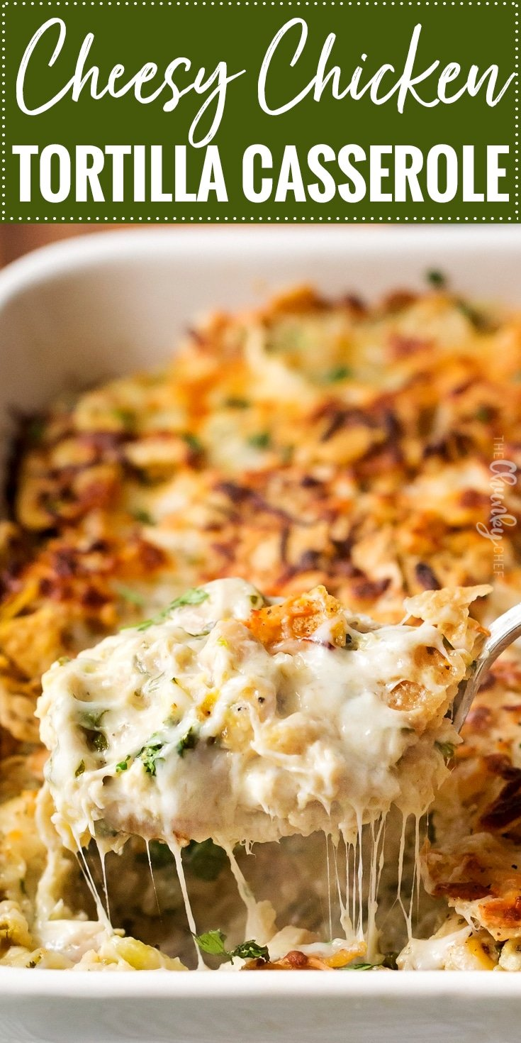 Cheesy Chicken Tortilla Casserole | A rotisserie chicken, creamy salsa verde sauce, plenty of gooey cheese and crunchy tortilla chips... it's the perfect casserole that's easy to prep ahead for a weeknight dinner! | http://thechunkychef.com