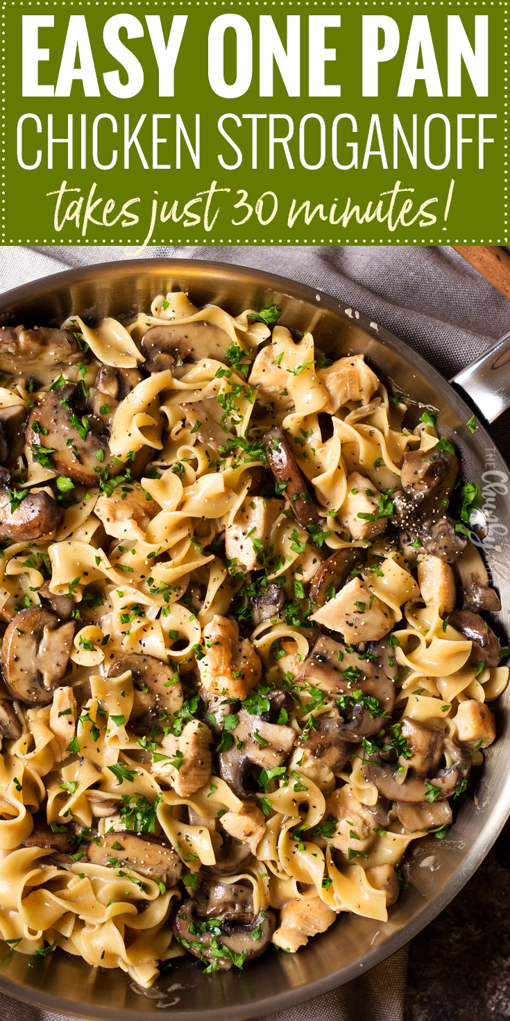 Hearty One Pot Chicken Stroganoff | Great classic stroganoff flavors with savory chicken, made easy in one pot!  Dinner is ready in 30 minutes, which is perfect for weeknights or back to school! | http://thechunkychef.com