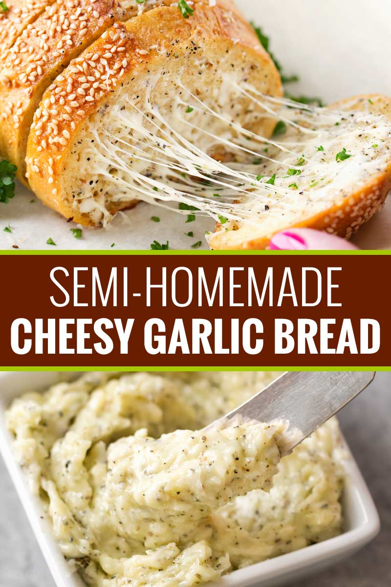 The easiest semi-homemade cheesy garlic bread ever! Frozen bread doesn't stand a chance against this buttery, gooey and toasty bread! #garlicbread #semihomemade #garlic #bread #easyrecipe #homemade