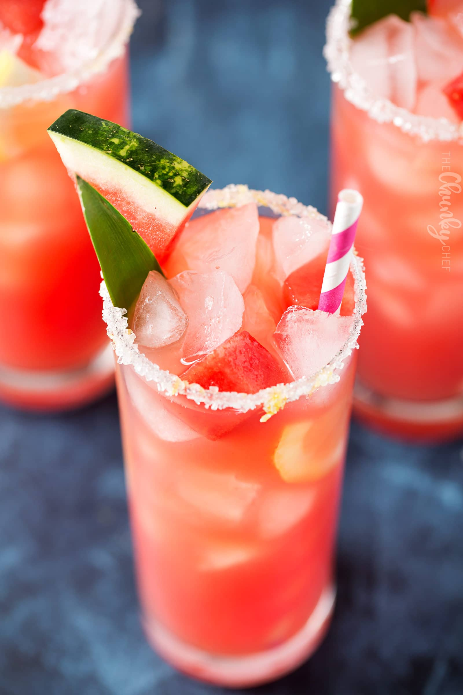 Summer Watermelon Lemonade | Sipping on this refreshing watermelon and pineapple lemonade is like taking a drink of pure summer! Easy to make, and you can add a bit of alcohol for an adults-only beverage! | http://thechunkychef.com
