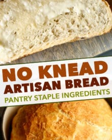 Homemade No Knead Bread is perfectly crusty on the outside, with a soft fluffy inside, and is made using regular pantry ingredients.  Perfect with a pat of butter! #bread #homemade #pantry #noknead #baked #artisan #quarantine