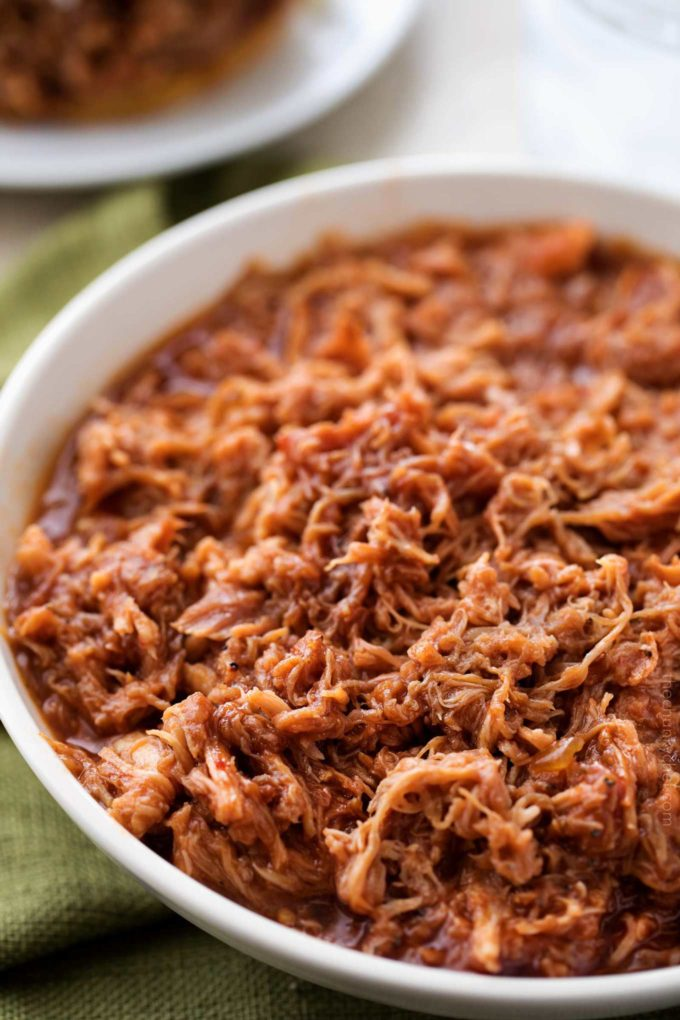 Bowl of instant pot pulled pork