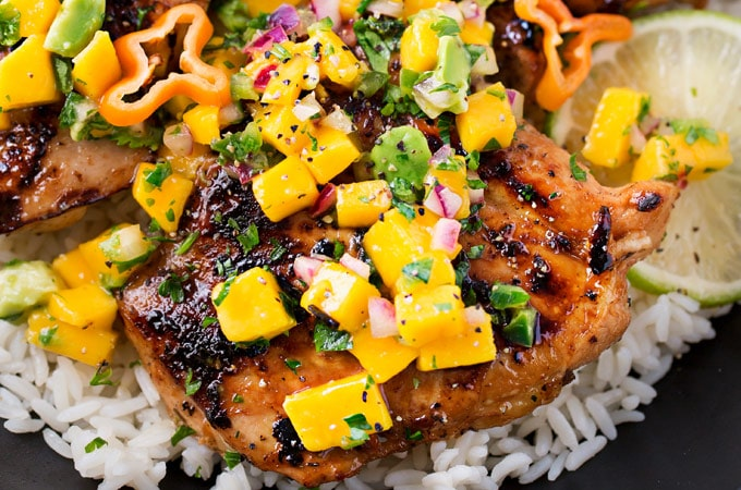 Jerk Chicken Thighs With Avocado Mango Salsa The Chunky Chef