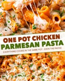 One Pot Chicken Parmesan Pasta | Great chicken parmesan flavors combine with pasta in this one pot meal that's ready in 30 minutes! #dinner #chicken #easyrecipe #weeknight #pasta #chickenparmesan