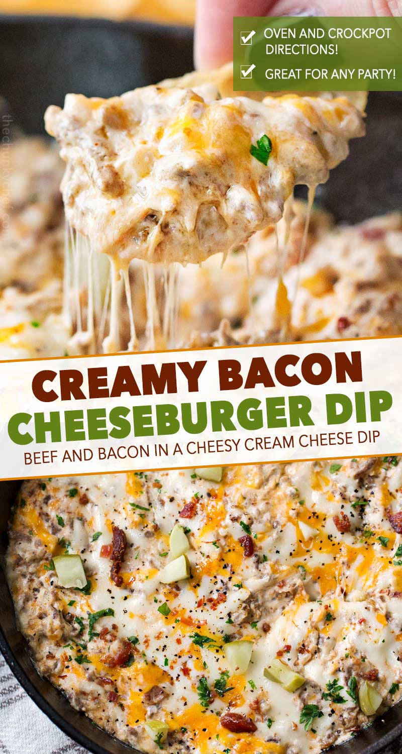 Creamy, cheesy, and oh so addicting, this bacon cheeseburger dip is just like your favorite gooey cheeseburger... but in a party-ready dip form! #bacon #gameday #cheesy #cheeseburger #party #appetizer #dip #easyrecipe