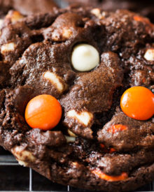 Peanut Butter Candy Double Chocolate Cookies | Fudgy and chewy double chocolate cookies, studded with white chocolate chips and Reese's pieces candies, which give them a fun Halloween look! | https://www.thechunkychef.com | #cookies #holiday #chocolate #baking