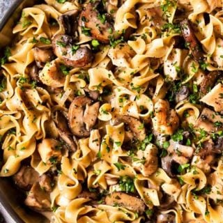 This budget-friendly Chicken Stroganoff is the perfect weeknight dinner recipe... ready in just 30 minutes, and made entirely in ONE POT! #stroganoff #chicken #onepotmeal #easyrecipe #weeknightmeal #chickenstroganoff #onepan #30minutemeal