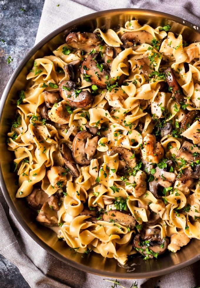 Chicken stroganoff in skillet